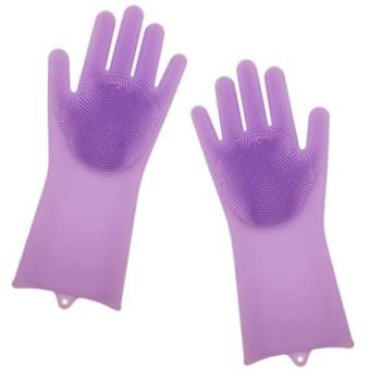 Силиконовые перчатки Magic Silicone Gloves Pink для уборки чистки мытья посуды для дома. Цвет: фиолетовый