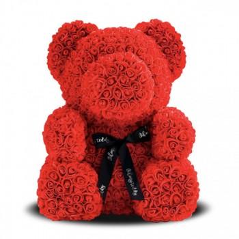 мишка из искусственных 3D роз 25 см. Цвет: красный